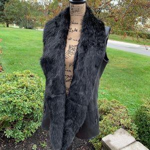 SAKS FIFTH AVENUE Faux Fur Plush Lined Drape Vest